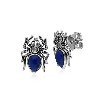 Gemondo Sterling Silver 1ct Lapis Lazuli & 0.13ct Marcasite Spider Earrings