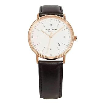 Simon Carter Bevelled Window Watch - Black/White/Rose Gold