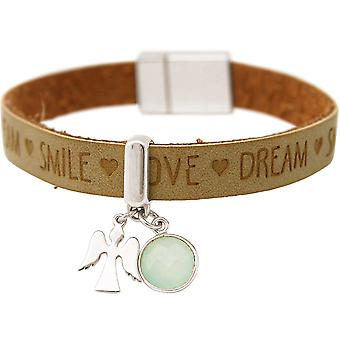 Gemshine - women - bracelet - protection Angel - 925 Silver - WISHES - Brown - sand - chalcedony - sea green - magnetic closure