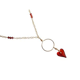 Gemshine - women - heart - pendant - necklace - gold - plated wld Heart Necklace red magma * - red - MADE WITH SWAROVSKI ELEMENTS® - 45 cm