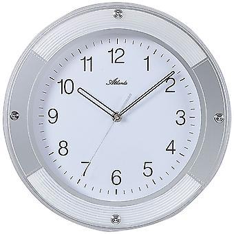 Atlanta 4348 wall clock quartz analog silver round quietly without ticking