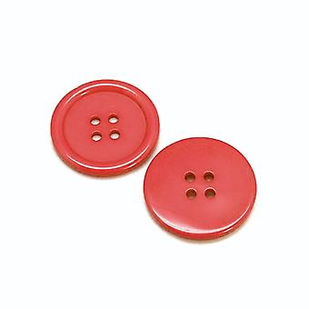 Packet 8 x Red Resin 34mm Round 4-Holed Sew On Buttons HA10445
