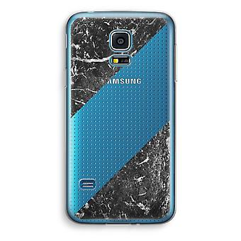 Samsung Galaxy S5 Mini Transparent Case (Soft) - Black marble