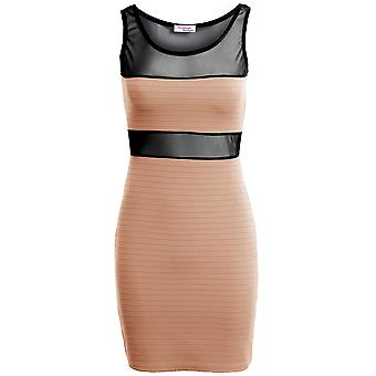 New Ladies Sleeveless Mesh Ribbed Contrast Women's Bodycon Dress