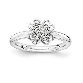 2,25 mm argent Sterling plaqué Rhodium et 14 k Gold-flashé empilable Expressions diamant bague fleur - bague taille: 5 à 1