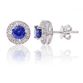 Étoiles de mariage anneaux en argent Sterling boucles d'oreilles de diamants et de pierres précieuses saphir