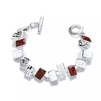 Cavendish franska Silver och röd jaspis diamantformade armband