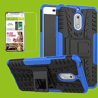 For Nokia 3.1 5.2 inch 2018 hybrid case 2 piece blue + tempered glass bag case cover sleeve new