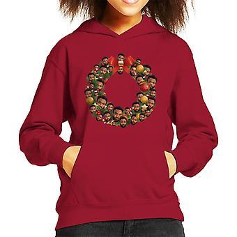 Christmas Wreath Multi Donald Glover Kid's Hooded Sweatshirt