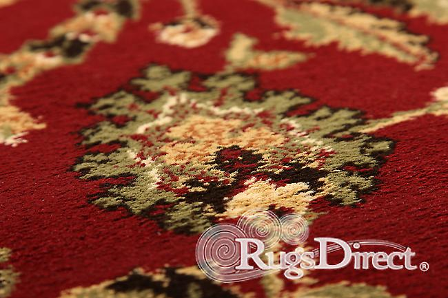 Kendra 137 R Red background with a traditional floral pattern and a beige border Rectangle Rugs Traditional Rugs
