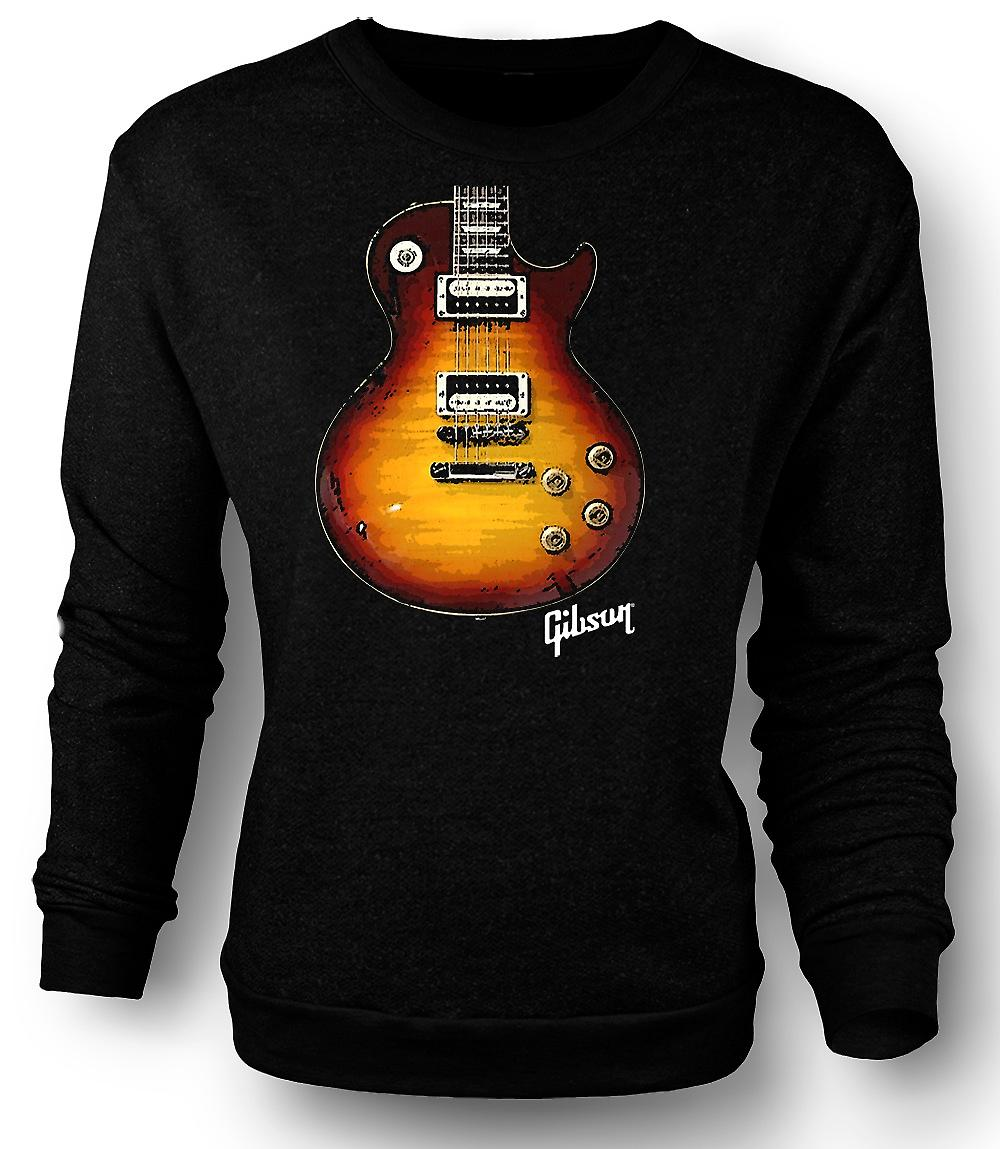 Mens Sweatshirt Gibson Les Paul Guitar or - musique
