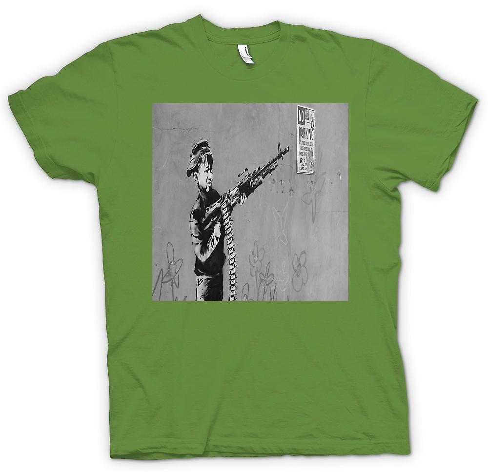 Heren T-shirt-Banksy Kid met M60 Machien Gun wanddecoratie