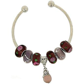 Purple Coloured Glass Beads and Charm on Silvertone Torque Bangle