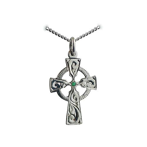 Silver 23x16mm hand engraved Emerald set Celtic Cross with a curb Chain 20 inches