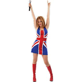 Womens Union Jack Ginger Spice Girls Geri Halliwell Fancy Dress Party Costume