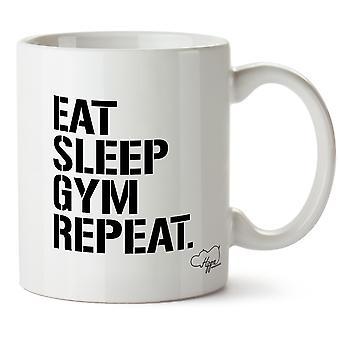 Hippowarehouse comer dormir ginásio repetição caneca impressa copo cerâmico 10oz