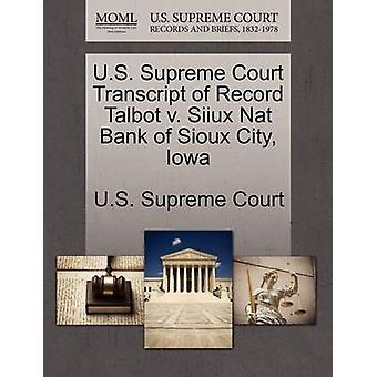 الولايات المتحدة محاضر جلسات المحكمة العليا لتسجيل تالبوت ف بنك نات سيو آيوا سيوكس سيتي بالمحكمة العليا للولايات المتحدة