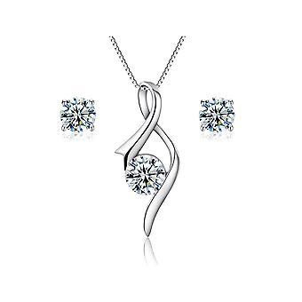 925 Sterling Silver Simple Flame Design Aaaaa Cubic Zirconia Jewellery Set