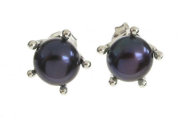 Cavendish French Sterling Silver and Black Pearl  Earrings