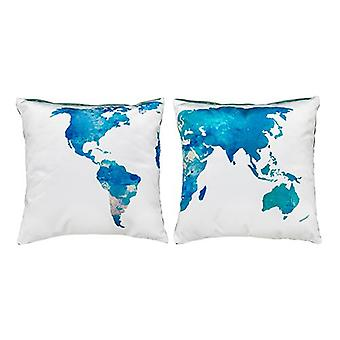 Pair of  'World' Watercolour Map Design 18