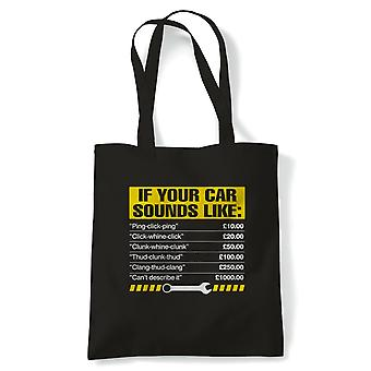 If Your Car Sounds Like Mens Funny Mechanic Tote | Mechanics Garage Automotive Vehicle Technician | Reusable Shopping Cotton Canvas Long Handled Natural Shopper Eco-Friendly Fashion