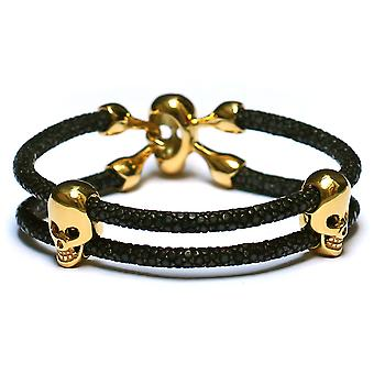 Lavriche Stingray Bracelet Leather with 18K Gold Plated Skull Beads High Quality