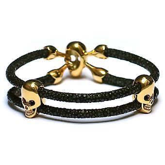 Stingray Lavriche Bracelet en cuir avec or 18 carats plaqué crâne billes haute qualité