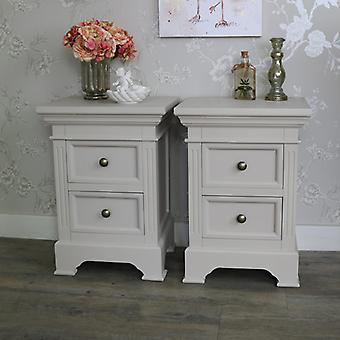 Pair of 2 Drawer Grey Bedside Chest Cabinets - Daventry Taupe-Grey Range