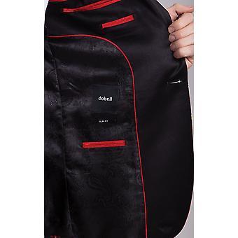 Dobell mężczyźni Red Tartan Tuxedo Jacket Slim fit kontrast szczyt Lapel