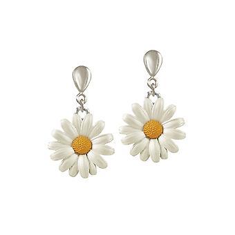 Eternal Collection Daisy White Enamel Silver Tone Drop Clip On Earrings