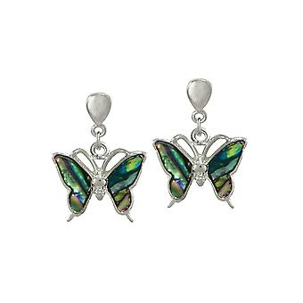Eternal Collection Take Flight Paua Shell Butterfly Silver Tone Drop Clip On Earrings