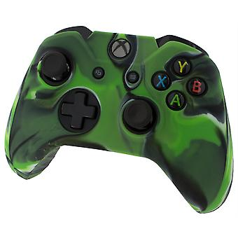 Soft silicone rubber skin grip cover for xbox one controller with ribbed handle - camo green