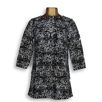 Susan Graver Women's Top Weekend Stampato francese Terry Tunic Black A346372