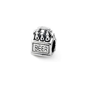 925 Sterling Silver Polished Antique finish Reflections 6-pack Beer Bead Charm