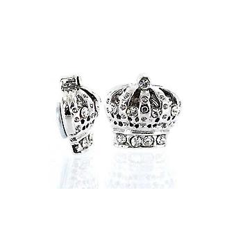 örhängen Silver Cz Iced Out Crown Magnetic