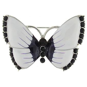 Brooches Store Glossy White and Purple Enamel and Crystal Butterfly Brooch