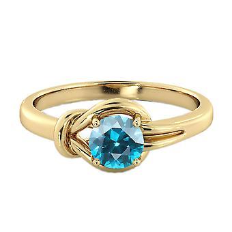 Aquamarine 0.50 CT Ring 14K Yellow Gold Knot  4 prongs Round