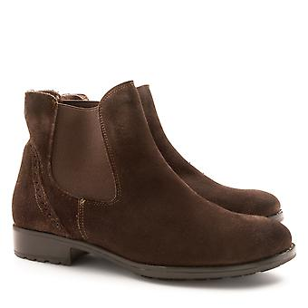 Handmade women's chelsea boots in suede leather