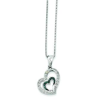 Sterling Silver Open back Gift Boxed Spring Ring Rhodium-plated Blue and White Diamond Heart Pendant