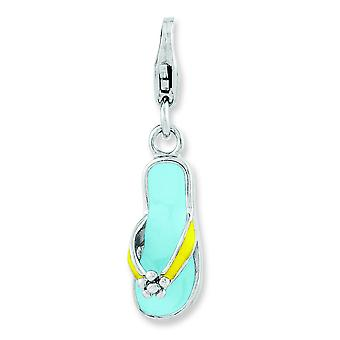 Sterling Silver Enameled 3-d Flower Flip Flop With Lobster Clasp Charm - 1.2 Grams