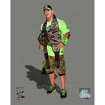 John Cena con el Campeonato WWE cinturones 2014 deportes foto (8 x 10)