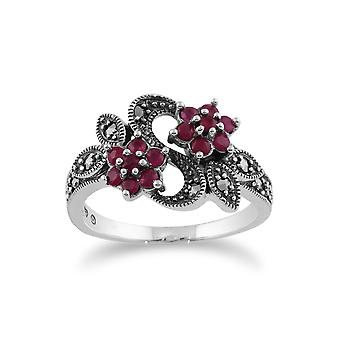 Gemondo 925 Sterling Silver Art Nouveau 0.58ct Ruby & Marcasite Floral Ring