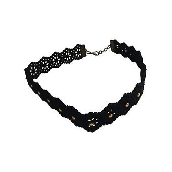 Cool floral statement choker necklace with studs