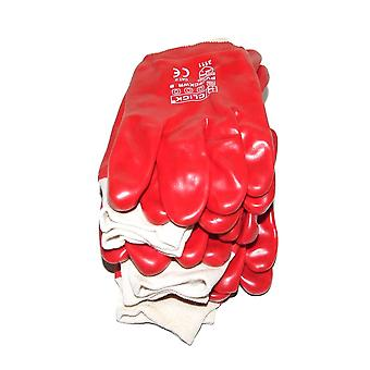6 Pairs of Warrior Red PVC Knit Wrist Knit Wrist Work Gloves, Large Size 10