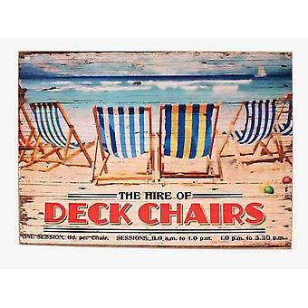 30x40cm Vintage Strand Liegestühle mieten Holzschild