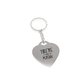 You are My Person Left Arrow Key Chain Heart Shaped Key Ring Gift for Her