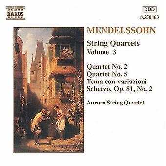 F. Mendelssohn - Mendelssohn: Streichquartette Vol. 3 [CD] USA import