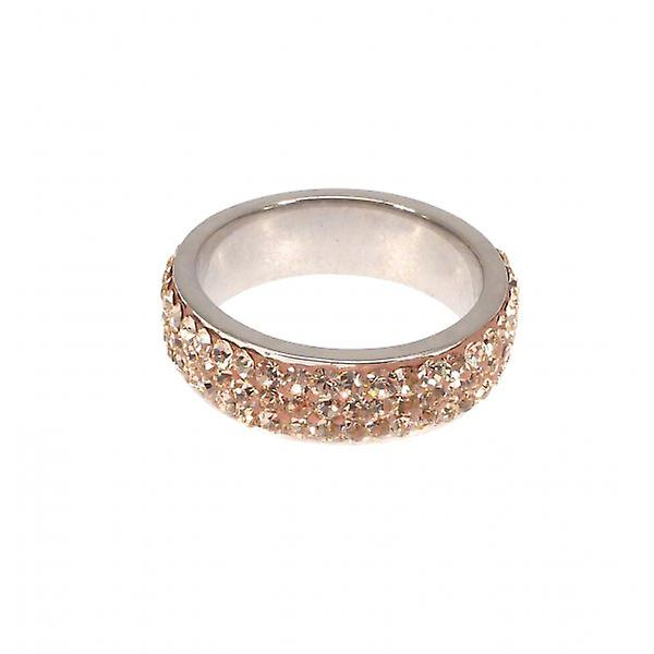 W.A.T 925 Sterling Silver And Peach CZ Crystal Ring