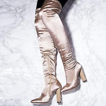 Spylovebuy VAGAS Pointed Toe Block Heel Thigh Boots - Beige Satin Style Lycra