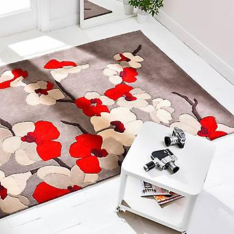 Blossom Taupe Red  Rectangle Rugs Modern Rugs